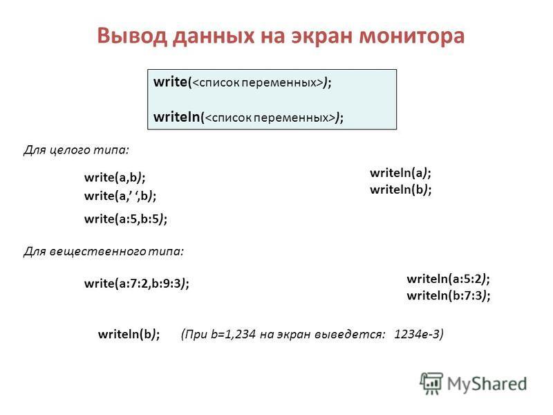Вывод данных на экран монитора write (<список переменных>); writeln (<список переменных>); write(a,b); writeln(a); writeln(b); write(a,,b); Для целого типа: Для вещественного типа: writeln(a:5:2); writeln(b:7:3); write(a:7:2,b:9:3); write(a:5,b:5); (