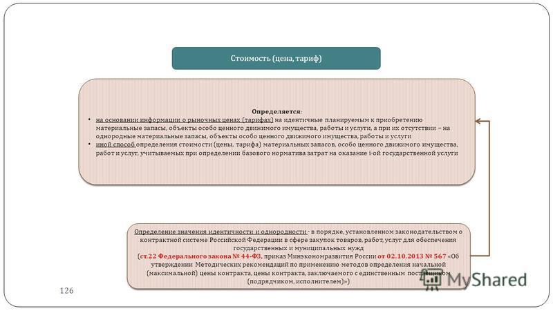 Определение значения идентичности и однородности - в порядке, установленном законодательством о контрактной системе Российской Федерации в сфере закупок товаров, работ, услуг для обеспечения государственных и муниципальных нужд ( ст.22 Федерального з
