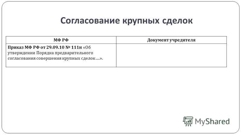 Согласование крупных сделок МФ РФДокумент учредителя Приказ МФ РФ от 29.09.10 111 н « Об утверждении Порядка предварительного согласования совершения крупных сделок ….».