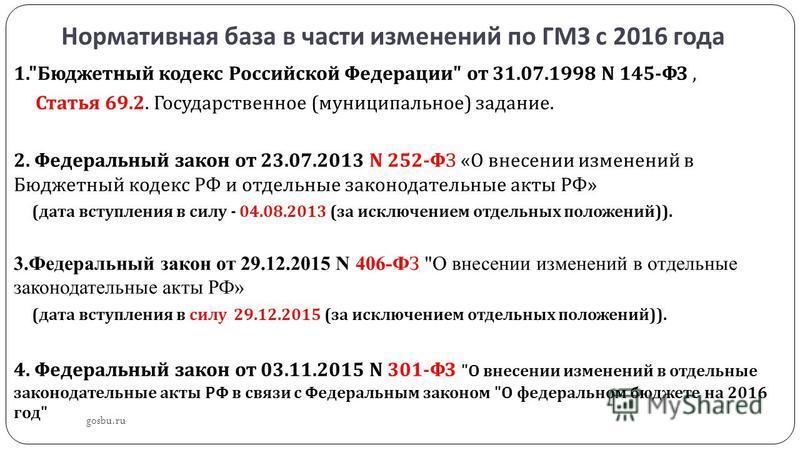 Нормативная база в части изменений по ГМЗ с 2016 года gosbu.ru 1.