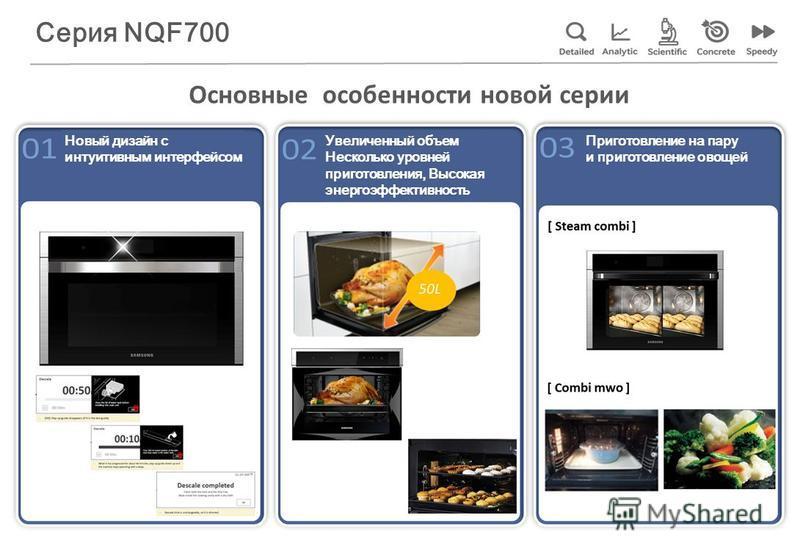 Основные особенности новой серии Новый дизайн с интуитивным интерфейсом Увеличенный объем Несколько уровней приготовления, Высокая энергоэффективность Приготовление на пару и приготовление овощей Серия NQF700