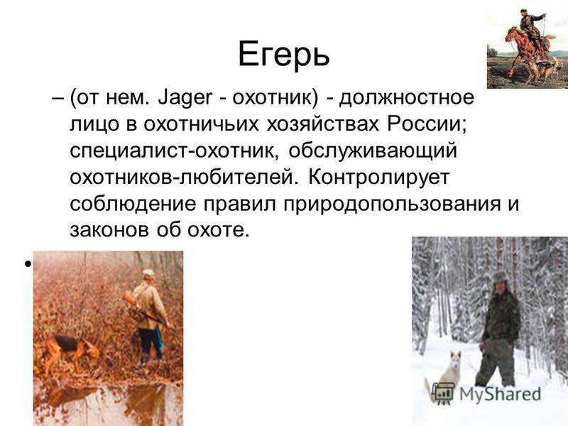 Егерь –(от нем. Jager - охотник) - должностное лицо в охотничьих хозяйствах России; специалист-охотник, обслуживающий охотников-любителей. Контролирует соблюдение правил природопользования и законов об охоте.