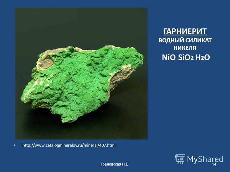 ГАРНИЕРИТ ВОДНЫЙ СИЛИКАТ НИКЕЛЯ NiO SiO 2 H 2 O http://www.catalogmineralov.ru/mineral/407. html Грановская Н.В.14