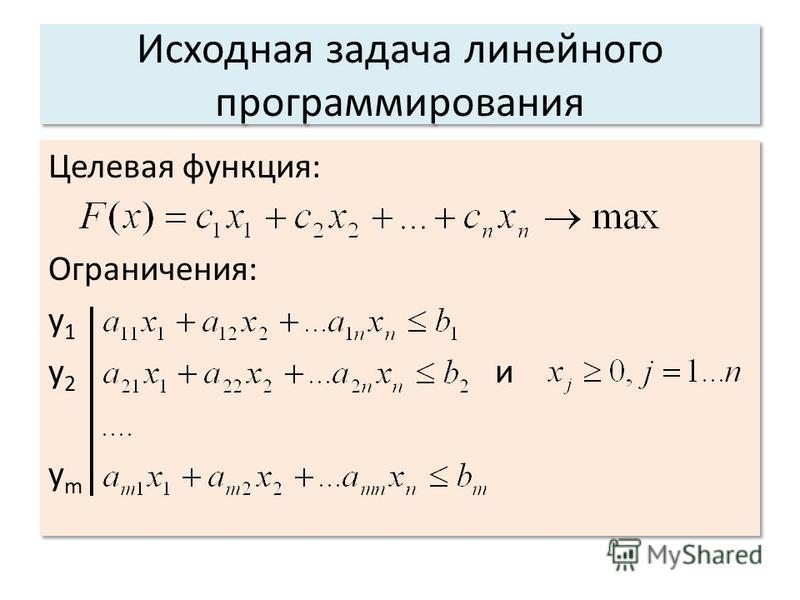 Исходная задача линейного программирования Целевая функция: Ограничения: y 1 y 2 и y m Целевая функция: Ограничения: y 1 y 2 и y m