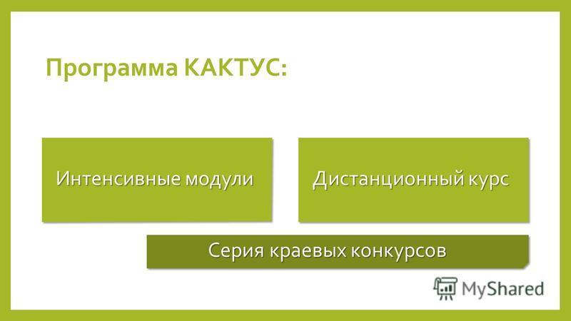 Программа КАКТУС: Интенсивные модули Дистанционный курс Серия краевых конкурсов