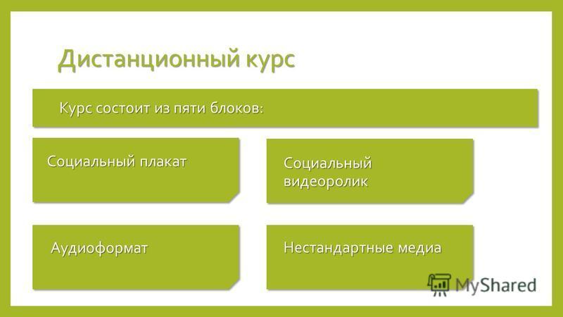 Дистанционный курс Курс состоит из пяти блоков: Аудиоформат Социальный плакат Социальный видеоролик Нестандартные медиа