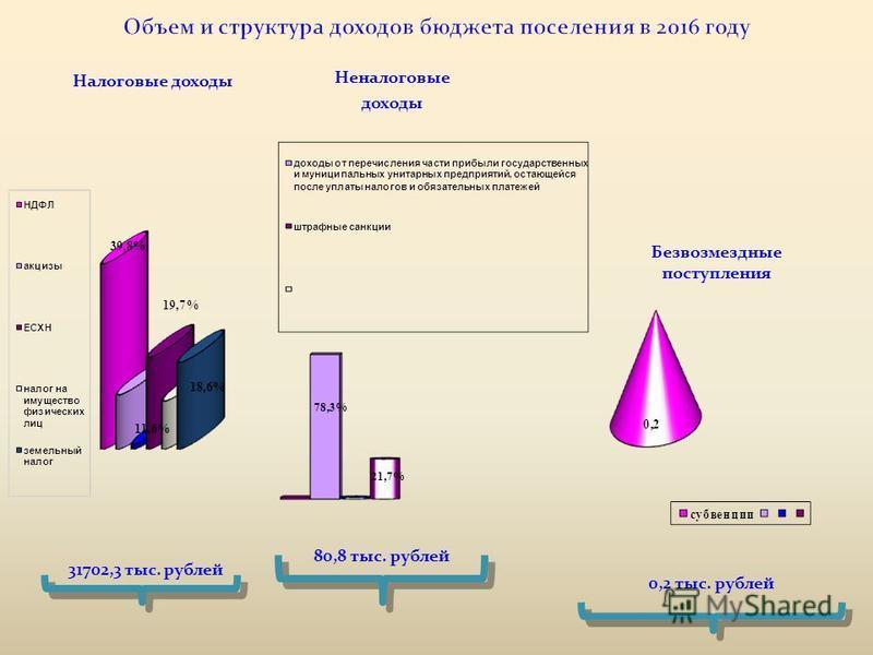 Налоговые доходы Безвозмездные поступления Неналоговые доходы 31702,3 тыс. рублей 80,8 тыс. рублей 0,2 тыс. рублей