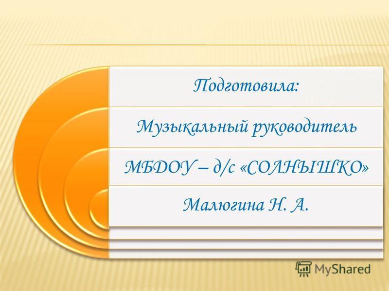 Подготовила: Музыкальный руководитель МБДОУ – д/с «СОЛНЫШКО» Малюгина Н. А.