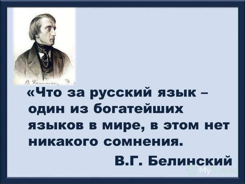 «Что за русский язык – один из богатейших языков в мире, в этом нет никакого сомнения. В.Г. Белинский