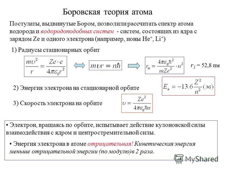 Боровская теория атома Постулаты, выдвинутые Бором, позволили рассчитать спектр атома водорода и водородоподобных систем - систем, состоящих из ядра с зарядом Ze и одного электрона (например, ионы He +, Li + ) Энергия электрона в атоме отрицательная!