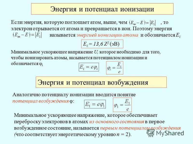 Энергия и потенциал ионизации Если энергия, которую поглощает атом, выше, чем, то электрон отрывается от атома и превращается в ион. Поэтому энергия называется энергией ионизации атома и обозначается E i E i = 13,6 Z 2 (эВ) Минимальное ускоряющее нап