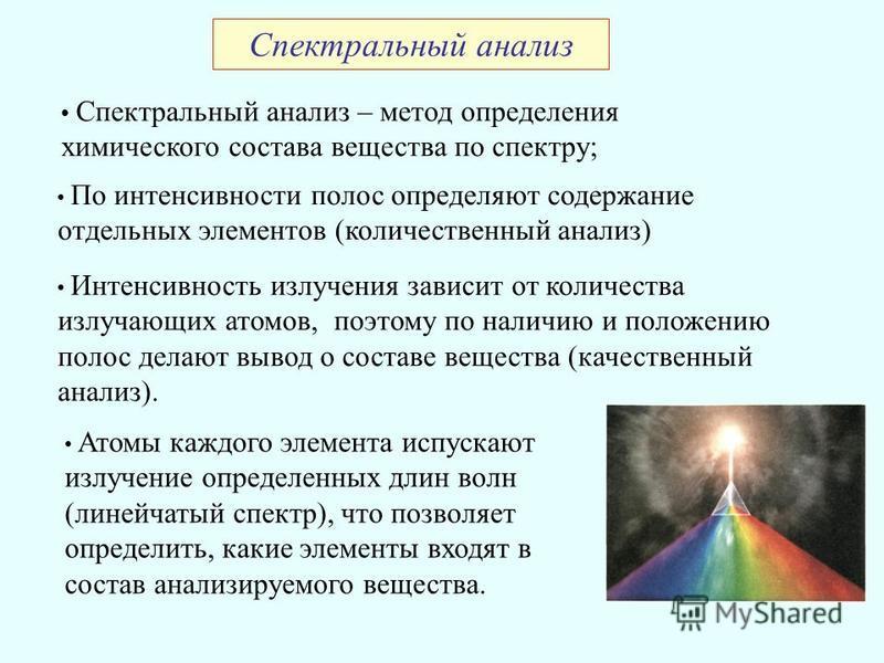 Спектральный анализ Спектральный анализ – метод определения химического состава вещества по спектру; По интенсивности полос определяют содержание отдельных элементов (количественный анализ) Интенсивность излучения зависит от количества излучающих ато