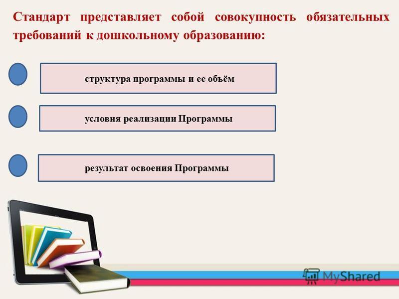 Стандарт представляет собой совокупность обязательных требований к дошкольному образованию: структура программы и ее объём условия реализации Программы результат освоения Программы
