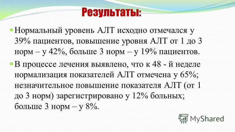Результаты: Нормальный уровень АЛТ исходно отмечался у 39% пациентов, повышение уровня АЛТ от 1 до 3 норм – у 42%, больше 3 норм – у 19% пациентов. В процессе лечения выявлено, что к 48 - й неделе нормализация показателей АЛТ отмечена у 65%; незначит