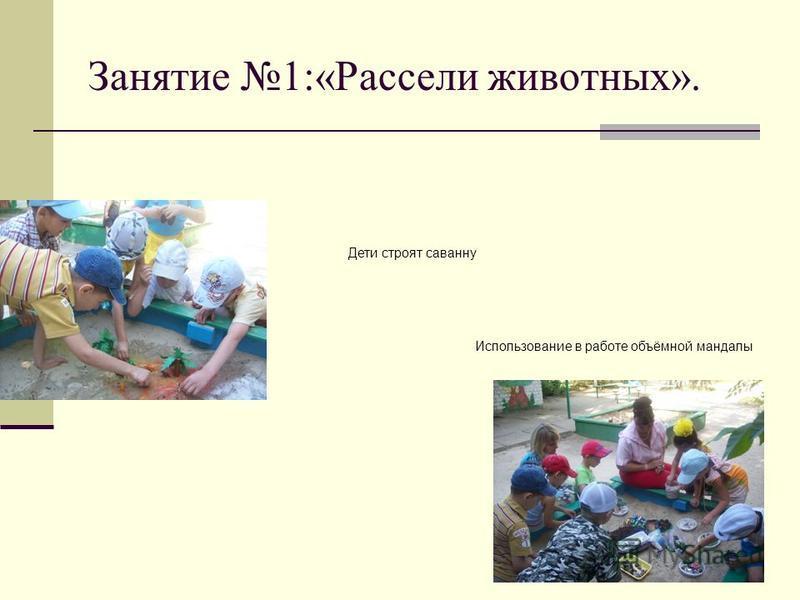 Занятие 1:«Рассели животных». Дети строят саванну Использование в работе объёмной мандалы