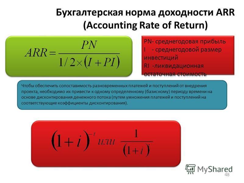 47 PBP – Payback Period (срок окупаемости) продолжительность наименьшего периода, в течение которого ЧДД становится и в дальнейшем остается неотрицательным. + - наглядность - популярность - не оценивает общий эффект от проекта - не характеризует скор