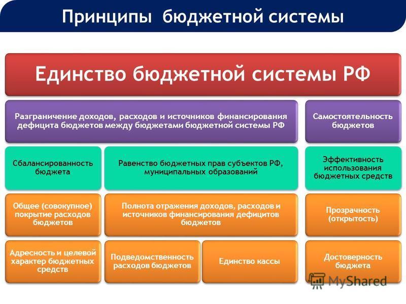 Единство бюджетной системы РФ Разграничение доходов, расходов и источников финансирования дефицита бюджетов между бюджетами бюджетной системы РФ Сбалансированность бюджета Общее (совокупное) покрытие расходов бюджетов Адресность и целевой характер бю