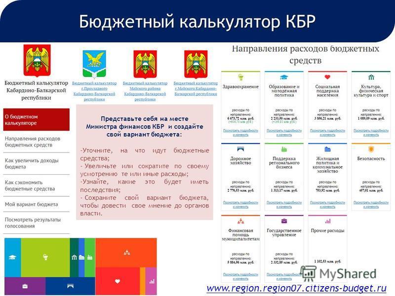 www.region.region07.citizens-budget.ru Бюджетный калькулятор КБР Представьте себя на месте Министра финансов КБР и создайте свой вариант бюджета: -Уточните, на что идут бюджетные средства; - Увеличьте или сократите по своему усмотрению те или иные ра