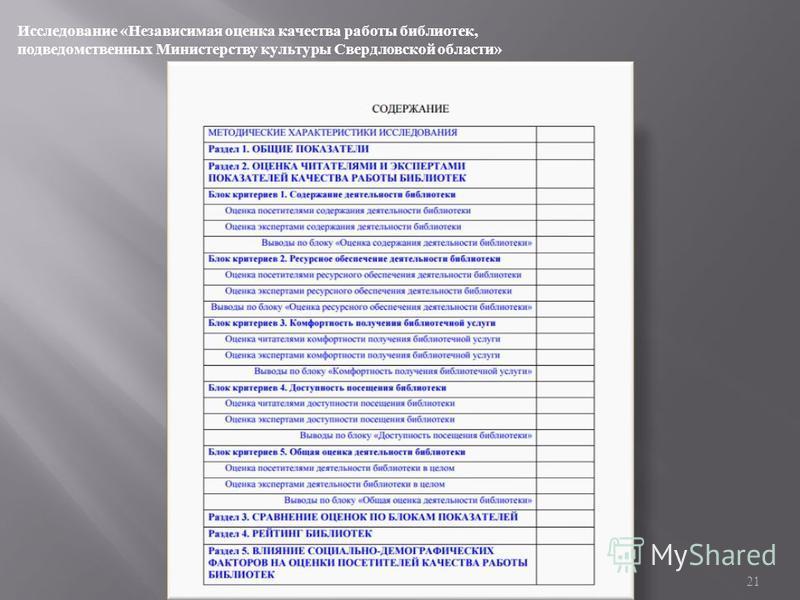 21 Исследование « Независимая оценка качества работы библиотек, подведомственных Министерству культуры Свердловской области »