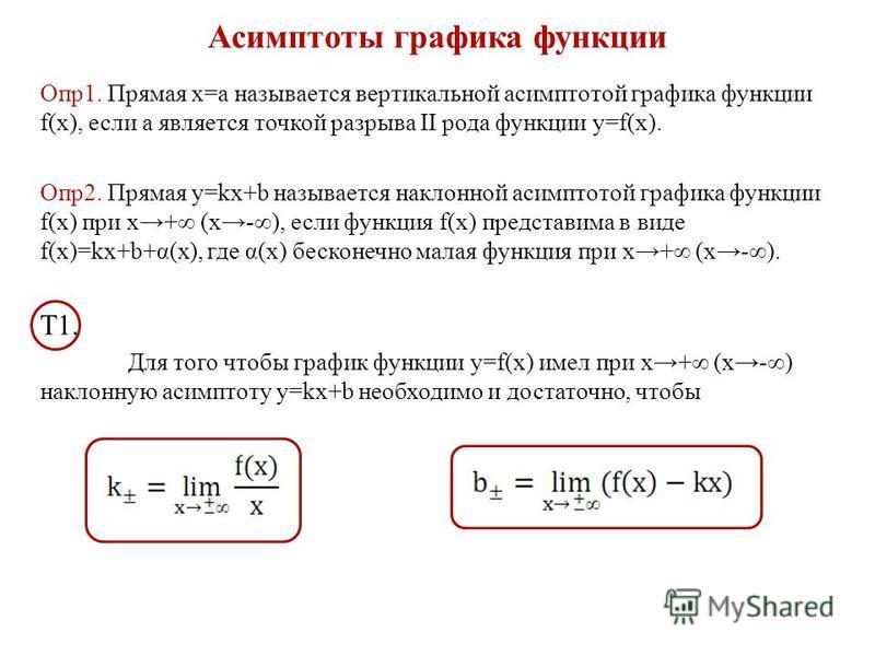 Асимптоты графика функции Опр 1. Прямая х=а называется вертикальной асимптотой графика функции f(x), если a является точкой разрыва II рода функции y=f(x). Опр 2. Прямая y=kx+b называется наклонной асимптотой графика функции f(x) при х+ (х-), если фу