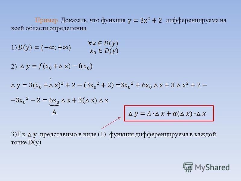 Пример. Доказать, что функция дифференцируема на всей области определения. 1) 2), 3)Т.к. представимо в виде (1) функция дифференцируема в каждой точке D(y)