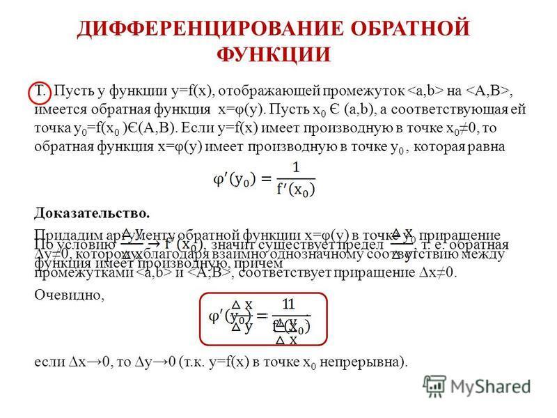 ДИФФЕРЕНЦИРОВАНИЕ ОБРАТНОЙ ФУНКЦИИ Т. Пусть у функции y=f(x), отображающей промежуток <a,b> на <A,B>, имеется обратная функция x=φ(y). Пусть x 0 Є (a,b), а соответствующая ей точка y 0 =f(x 0 )Є(A,B). Если y=f(x) имеет производную в точке x 0 0, то о