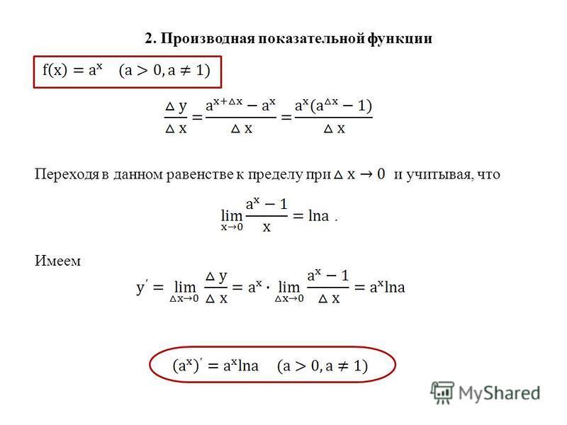 2. Производная показательной функции Переходя в данном равенстве к пределу при и учитывая, что. Имеем