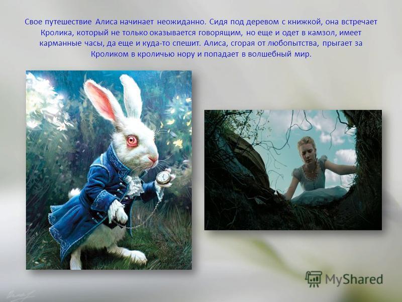 Свое путешествие Алиса начинает неожиданно. Сидя под деревом с книжкой, она встречает Кролика, который не только оказывается говорящим, но еще и одет в камзол, имеет карманные часы, да еще и куда-то спешит. Алиса, сгорая от любопытства, прыгает за Кр