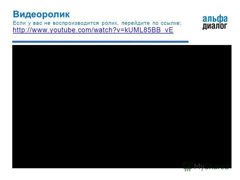 Видеоролик Если у вас не воспроизводится ролик, перейдите по ссылке: http://www.youtube.com/watch?v=kUML85BB_vE
