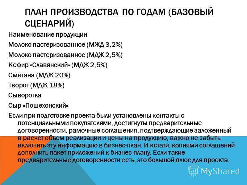ПЛАН ПРОИЗВОДСТВА ПО ГОДАМ (БАЗОВЫЙ СЦЕНАРИЙ) Наименование продукции Молоко пастеризованное (МЖД 3,2%) Молоко пастеризованное (МДЖ 2,5%) Кефир «Славянский» (МДЖ 2,5%) Сметана (МДЖ 20%) Творог (МДЖ 18%) Сыворотка Сыр «Пошехонский» Если при подготовке