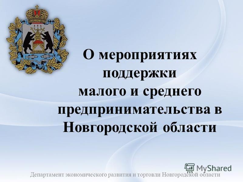 О мероприятиях поддержки малого и среднего предпринимательства в Новгородской области Департамент экономического развития и торговли Новгородской области