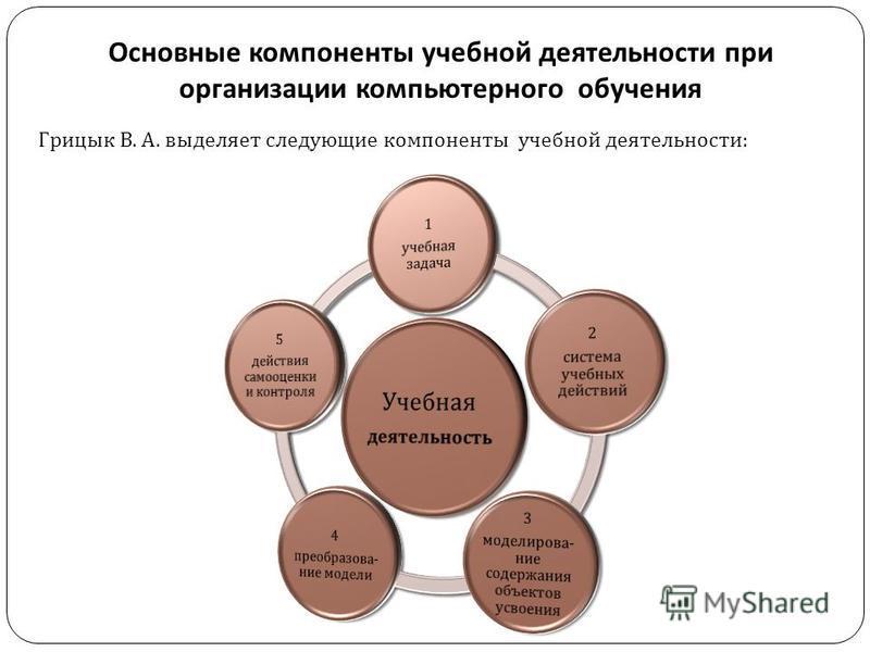 Основные компоненты учебной деятельности при организации компьютерного обучения Грицык В. А. выделяет следующие компоненты учебной деятельности: