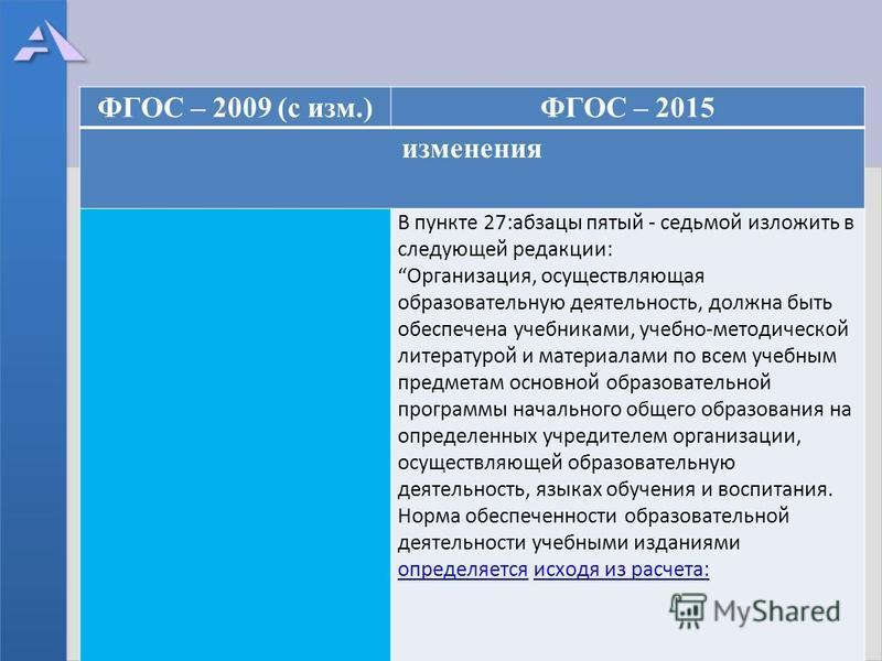 ФГОС – 2009 (с изм.)ФГОС – 2015 изменения В пункте 27:абзацы пятый - седьмой изложить в следующей редакции: Организация, осуществляющая образовательную деятельность, должна быть обеспечена учебниками, учебно-методической литературой и материалами по