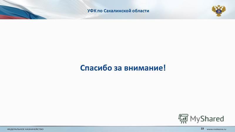 УФК по Сахалинской области Спасибо за внимание! 13
