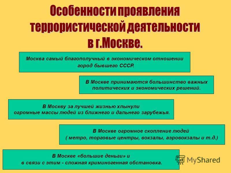 Москва самый благополучный в экономическом отношении город бывшего СССР. В Москве принимаются большинство важных политических и экономических решений. В Москву за лучшей жизнью хлынули огромные массы людей из ближнего и дальнего зарубежья. В Москве «