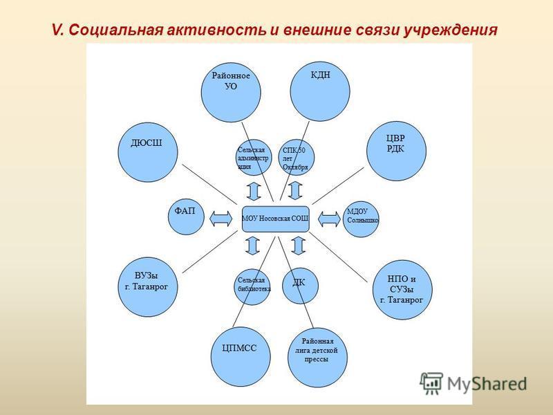 V. Социальная активность и внешние связи учреждения