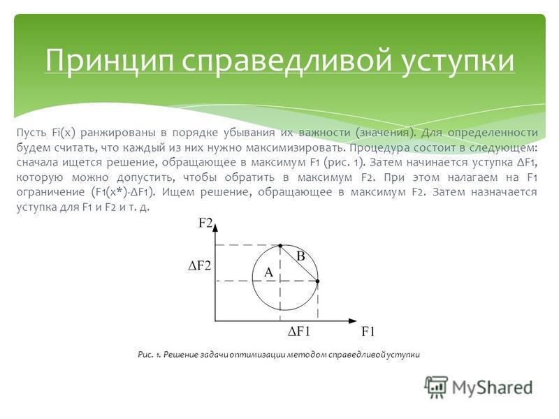 Пусть Fi(x) ранжированы в порядке убывания их важности (значения). Для определенности будем считать, что каждый из них нужно максимизировать. Процедура состоит в следующем: сначала ищется решение, обращающее в максимум F1 (рис. 1). Затем начинается у
