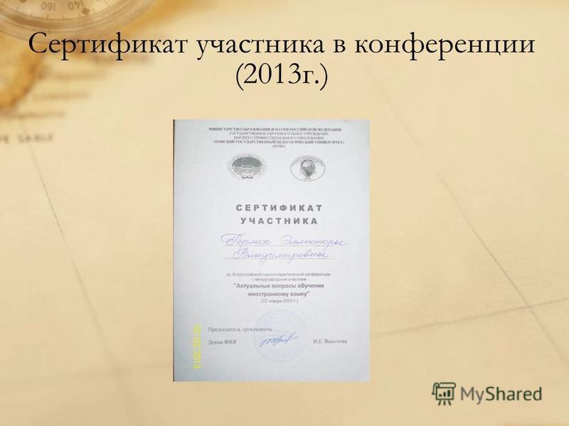 Сертификат участника в конференции (2013 г.)