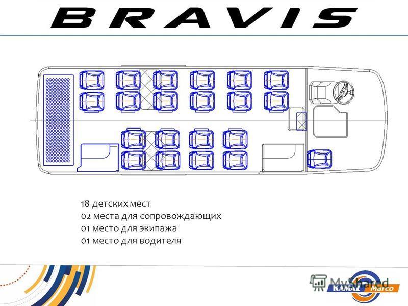 18 детских мест 02 места для сопровождающих 01 место для экипажа 01 место для водителя