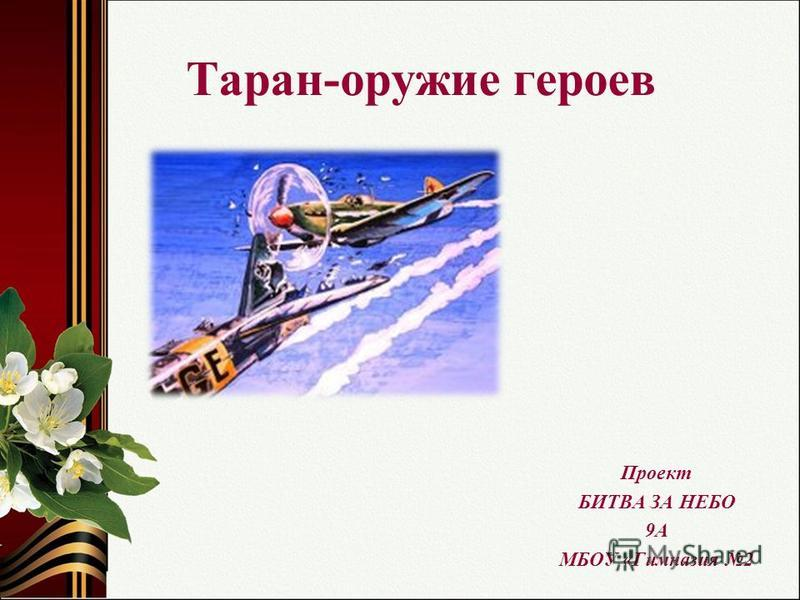Таран-оружие героев Проект БИТВА ЗА НЕБО 9А МБОУ «Гимназия 2