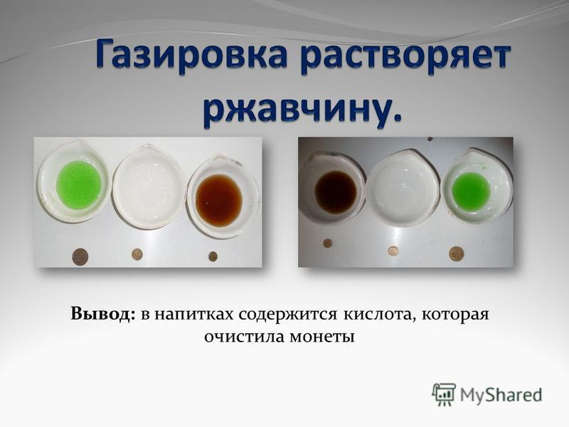 Вывод: в напитках содержится кислота, которая очистила монеты