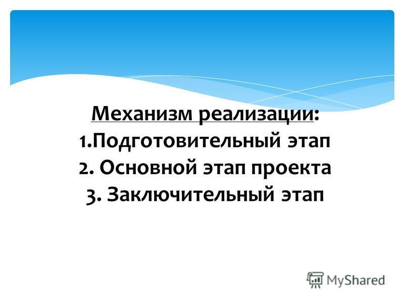 Механизм реализации: 1. Подготовительный этап 2. Основной этап проекта 3. Заключительный этап