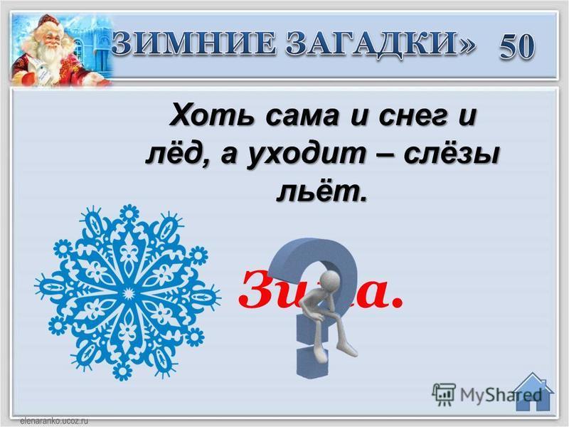 Зима. Хоть сама и снег и лёд, а уходит – слёзы льёт.