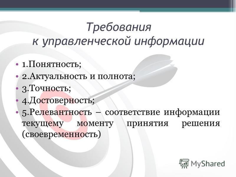 Требования к управленческой информации 1.Понятность; 2. Актуальность и полнота; 3.Точность; 4.Достоверность; 5. Релевантность – соответствие информации текущему моменту принятия решения (своевременность)
