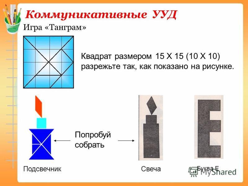 Коммуникативные УУД Игра «Танграм» Квадрат размером 15 Х 15 (10 Х 10) разрежьте так, как показано на рисунке. Попробуй собрать Подсвечник Свеча Буква Е