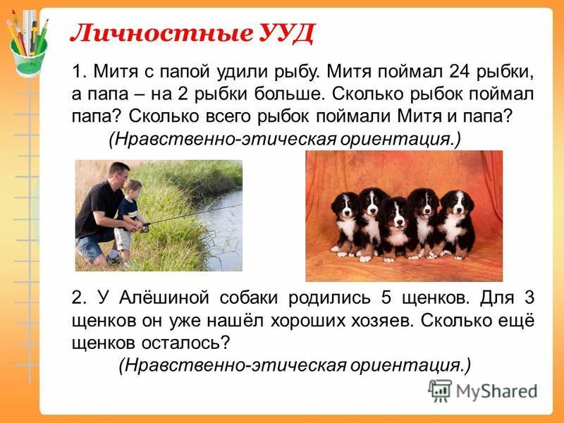 Личностные УУД 1. Митя с папой удили рыбу. Митя поймал 24 рыбки, а папа – на 2 рыбки больше. Сколько рыбок поймал папа? Сколько всего рыбок поймали Митя и папа? (Нравственно-этическая ориентация.) 2. У Алёшиной собаки родились 5 щенков. Для 3 щенков