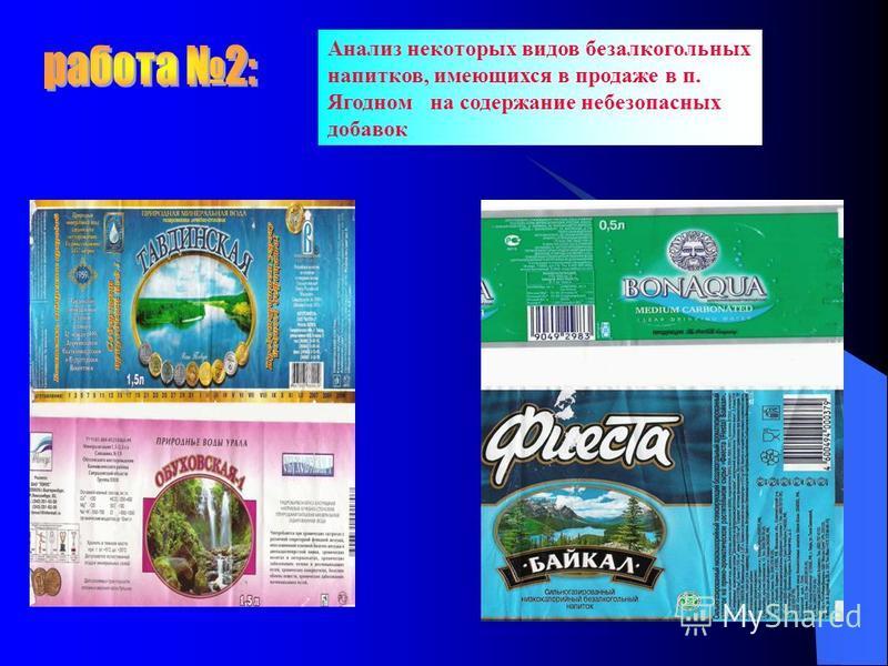 Анализ некоторых видов безалкогольных напитков, имеющихся в продаже в п. Ягодном на содержание небезопасных добавок