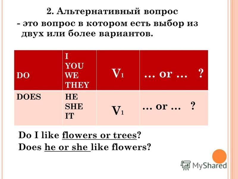 2. Альтернативный вопрос - это вопрос в котором есть выбор из двух или более вариантов. Do I like flowers or trees? Does he or she like flowers? DO I YOU WE THEY V1V1 … or … ? DOESHE SHE IT V1V1 … or … ?