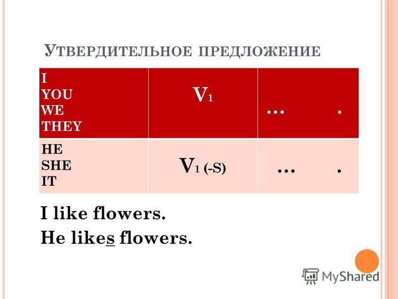 У ТВЕРДИТЕЛЬНОЕ ПРЕДЛОЖЕНИЕ I YOU WE THEY V1V1 …. HE SHE IT V 1 (-S) …. I like flowers. He likes flowers.