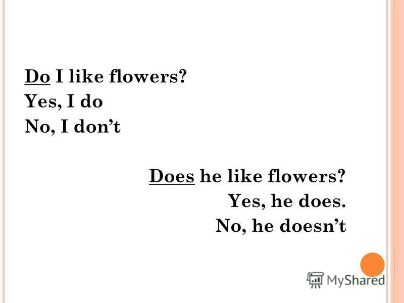 Do I like flowers? Yes, I do No, I dont Does he like flowers? Yes, he does. No, he doesnt